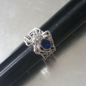 925 sterling size 7 spider ring blue gem stone